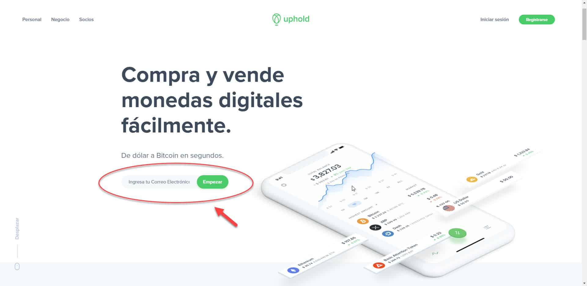 registrarse en uphold para utilizar bitcoin